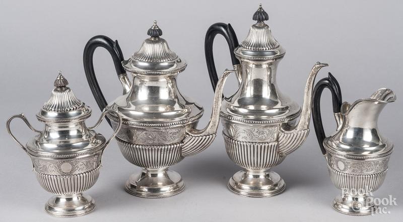 Portuguese 833 silver four-piece tea service