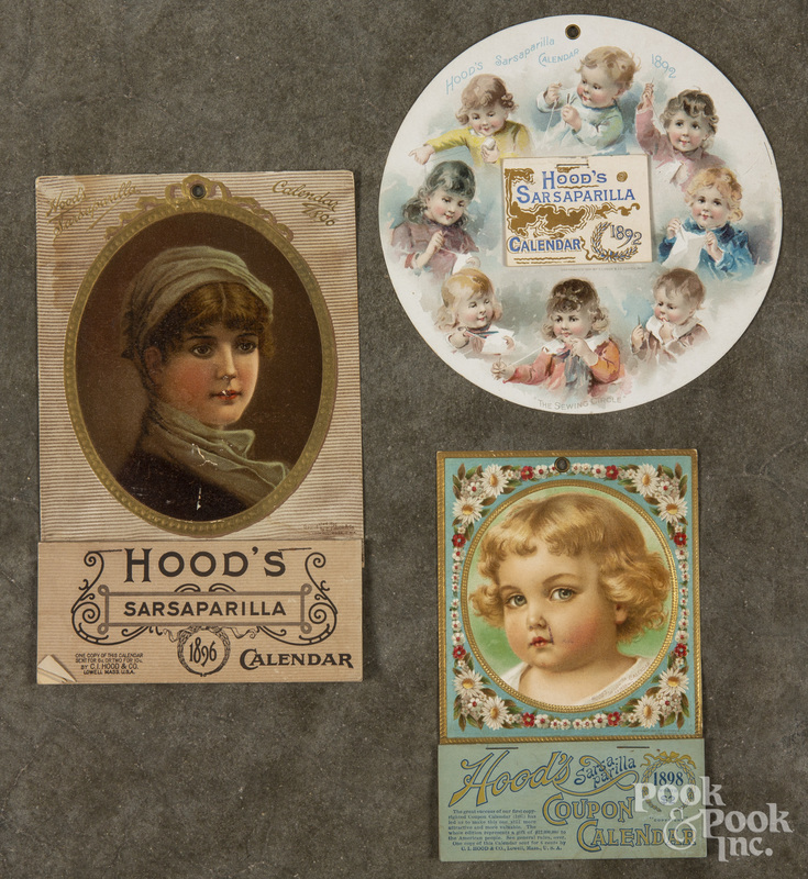 Three Hood's Sarsaparilla advertising calendars