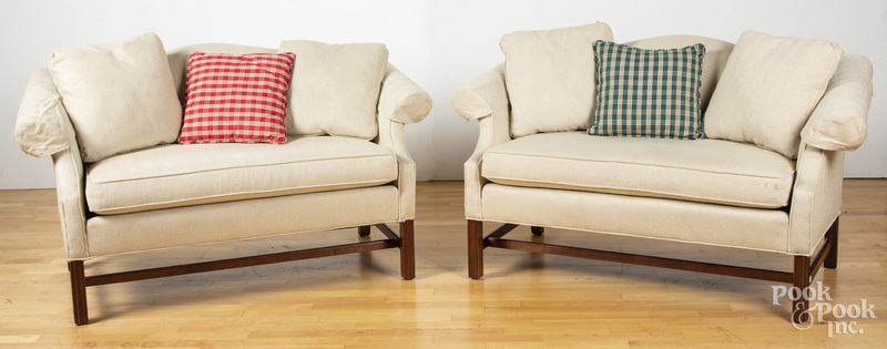 Pair of Chippendale style love seats, etc.