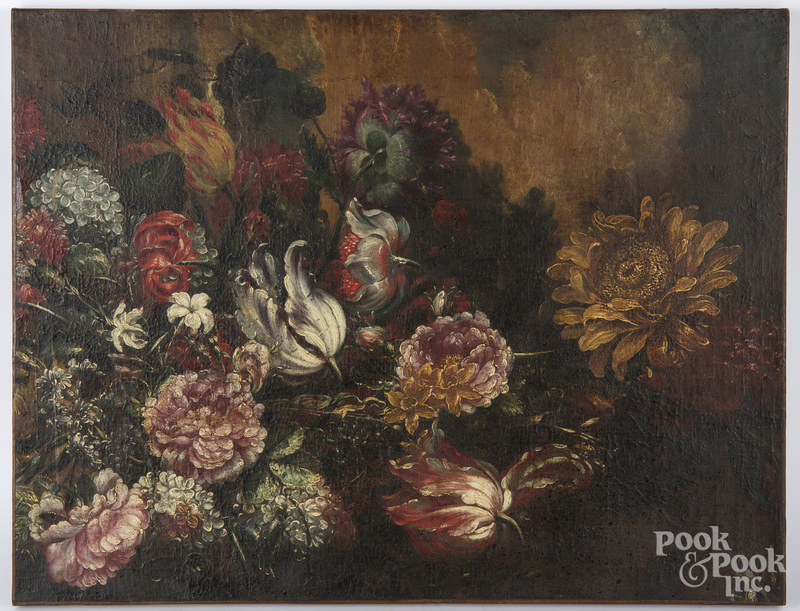 Old Master oil on canvas floral still life