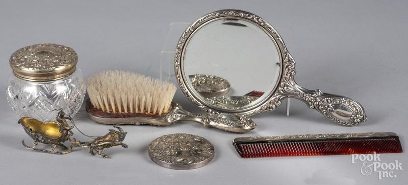 Sterling silver mounted dresser set
