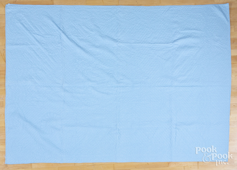 Pair of light blue quilts