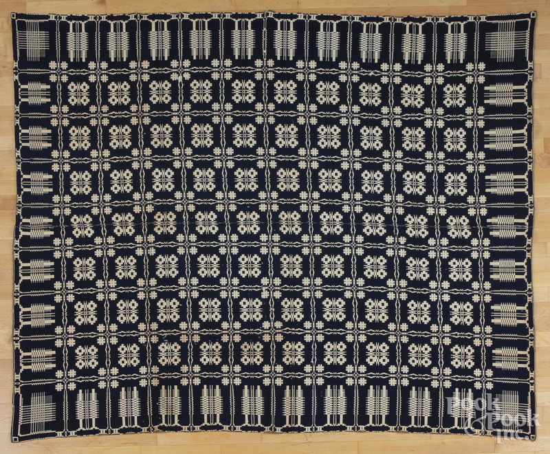 Blue and white overshot coverlet