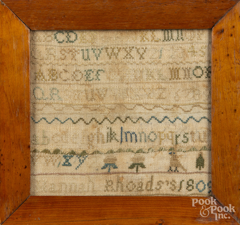 Two small silk on linen samplers