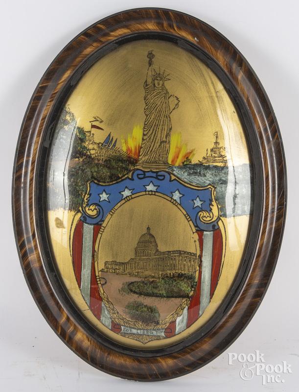 Reverse painted patriotic plaque