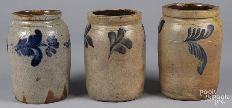 Three Remmey type stoneware crocks