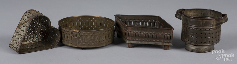 Four tin cheese strainers