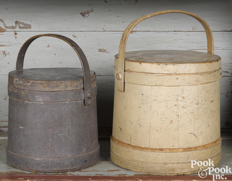 Two painted pine firkins