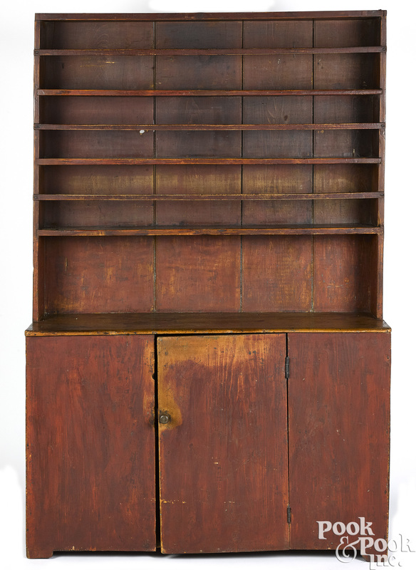 New England painted pine stepback cupboard