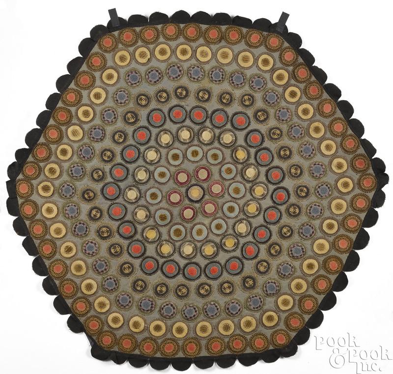 Hexagonal penny rug