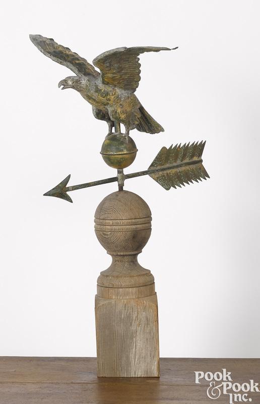 Full bodied copper eagle weathervane
