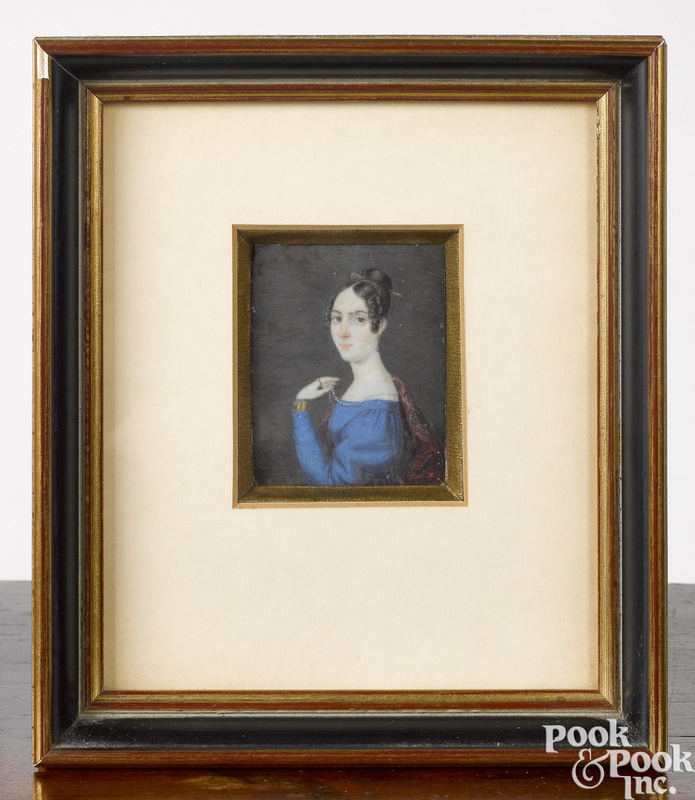 Miniature portrait on ivory of a young woman