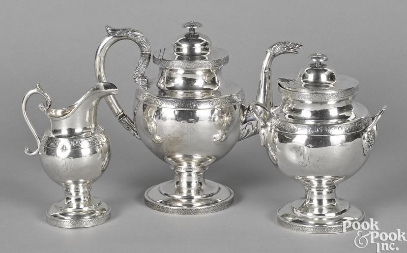 Washington, DC three-piece coin silver tea service