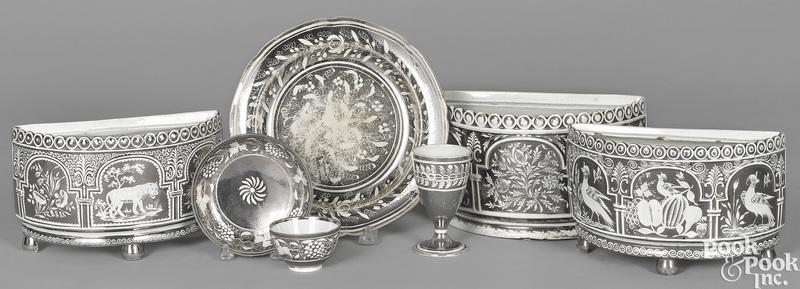Three English pearlware silver-resist bough pots