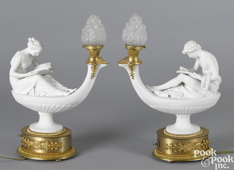 Pair of French classical parian table lamps
