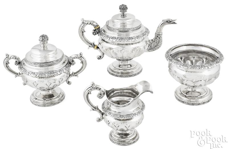 New York four-piece coin silver tea service