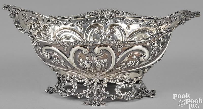 English repousse silver basket