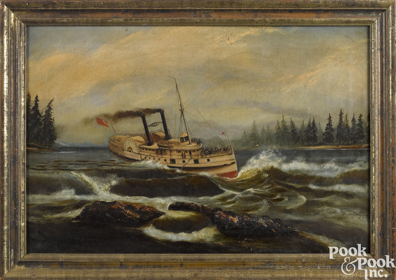 English oil on canvas riverscape with sidewheeler