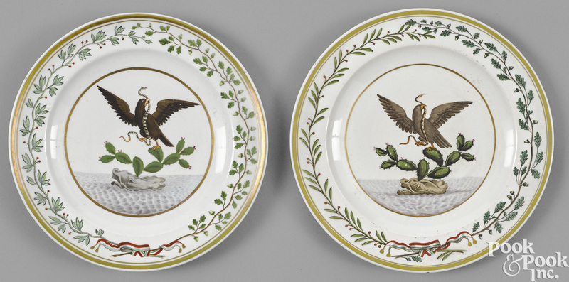 Two German porcelain Arms of Mexico plates