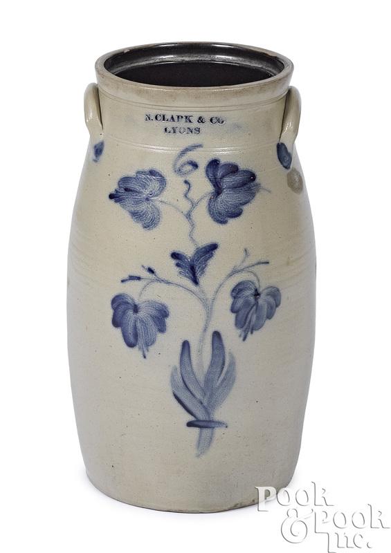 N. Clark & Co., Lyons, New York, stoneware churn