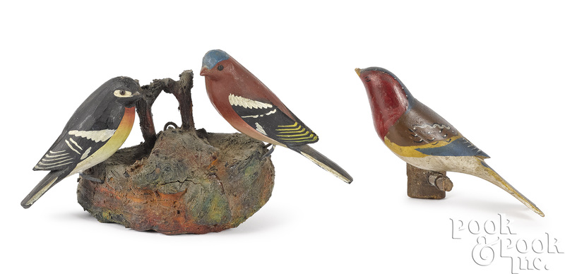 Three George Miller carved and painted birds