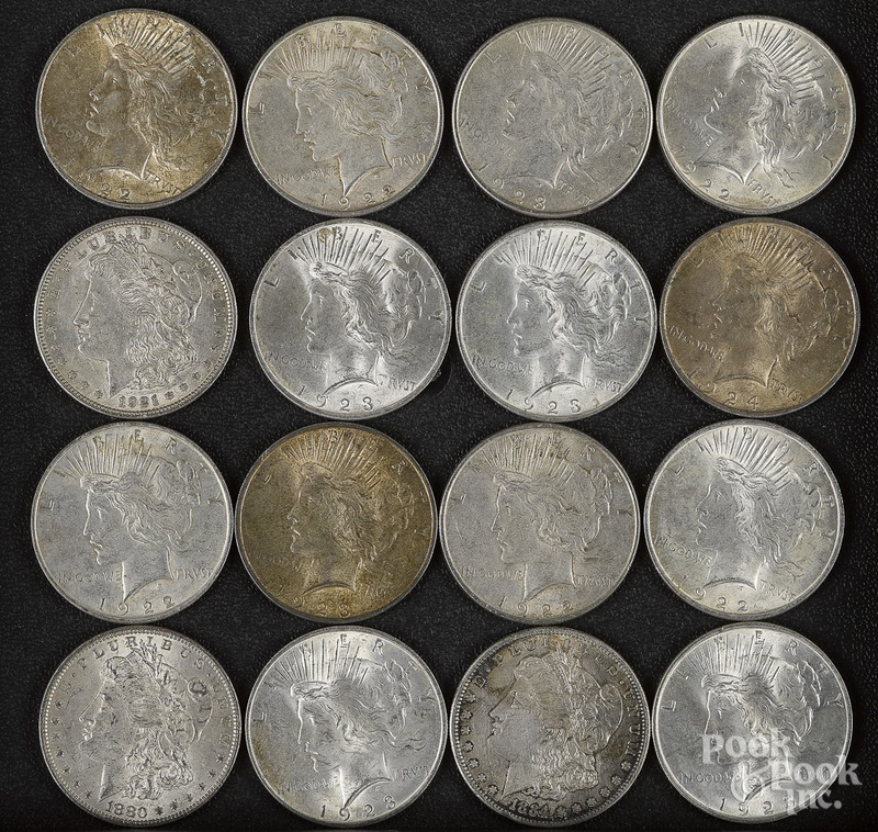 Thirteen Peace silver dollars, etc.