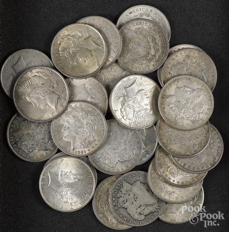 Eighteen Morgan silver dollars, etc.