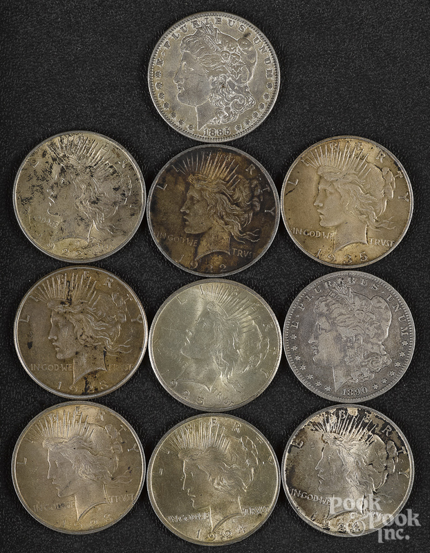 Eight Peace silver dollars, etc.