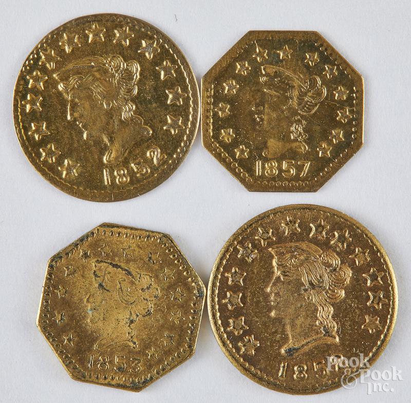 Two 1852 California half dollar gold coins, etc.