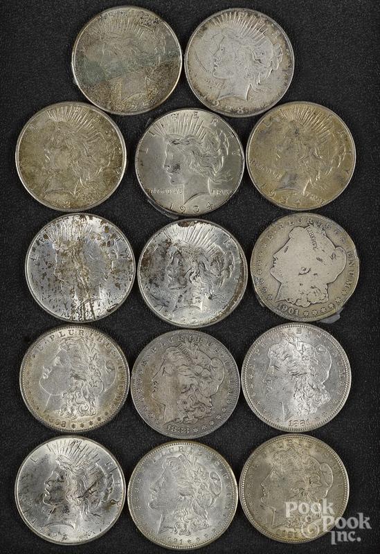 Six Morgan silver dollars, etc.