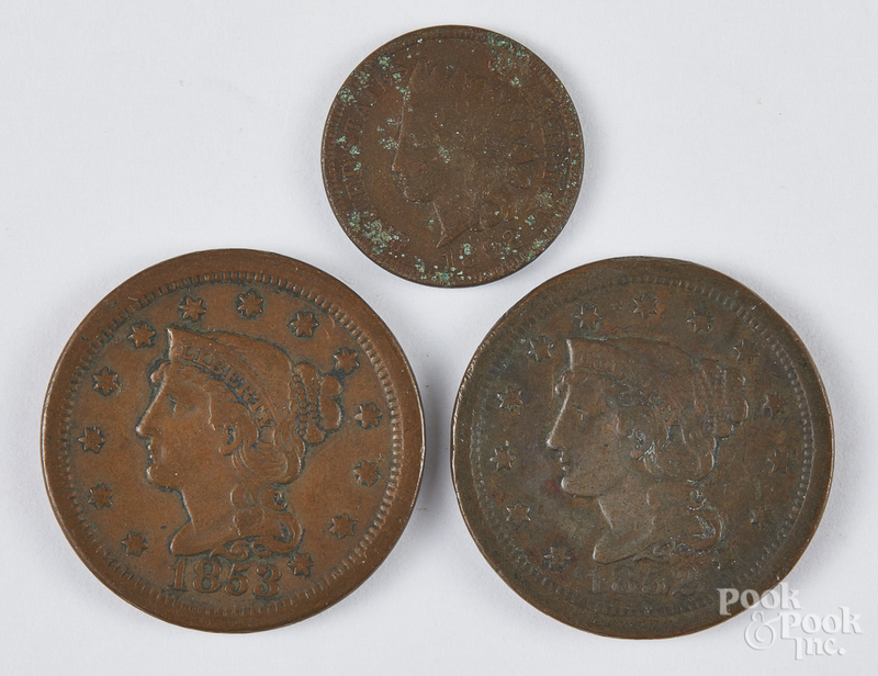 Two US one cent coins, etc.