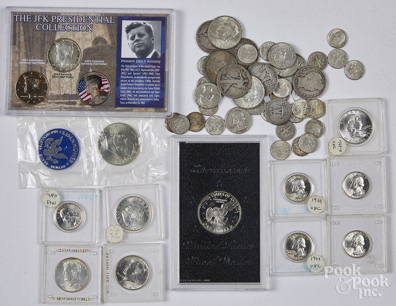 US silver coins, 7.1 ozt., etc.