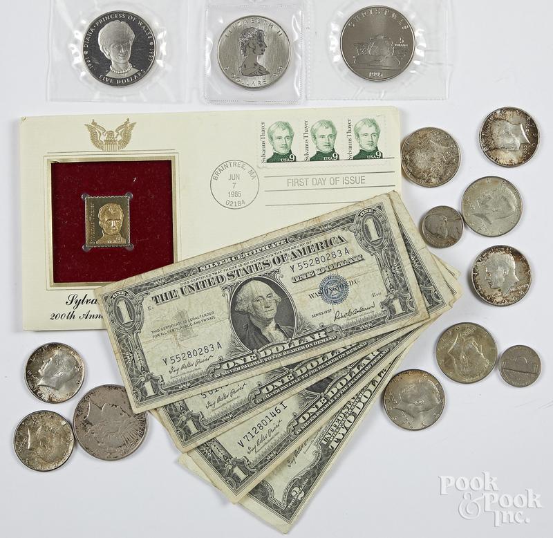 Canada 1 ozt. fine silver coin, etc.
