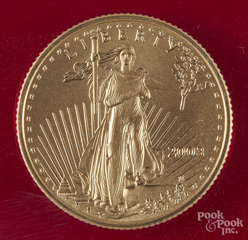 Liberty eagle 1/4 ozt. gold coin, etc.
