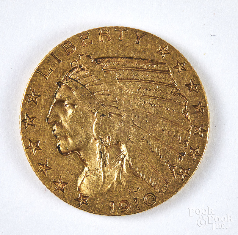 1910 Indian head five dollar gold coin.