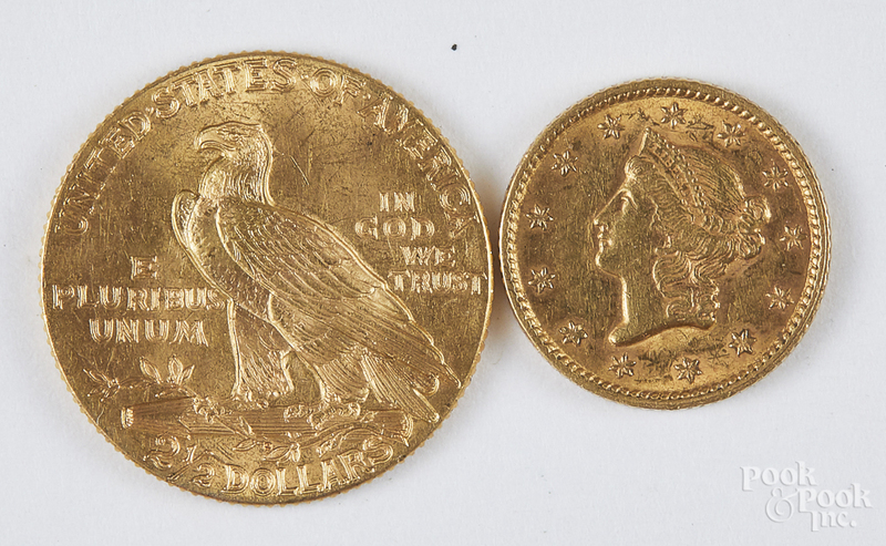 1926 Indian head gold coin, etc.