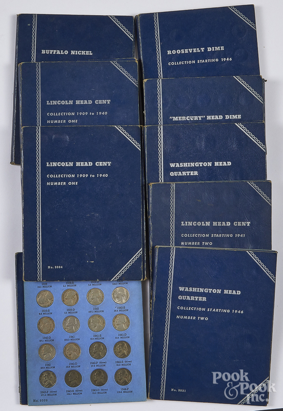 Nine assorted Whitman blue coin folders, etc.