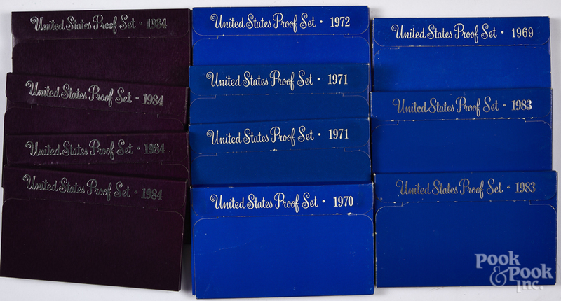 Eleven US proof sets, etc.