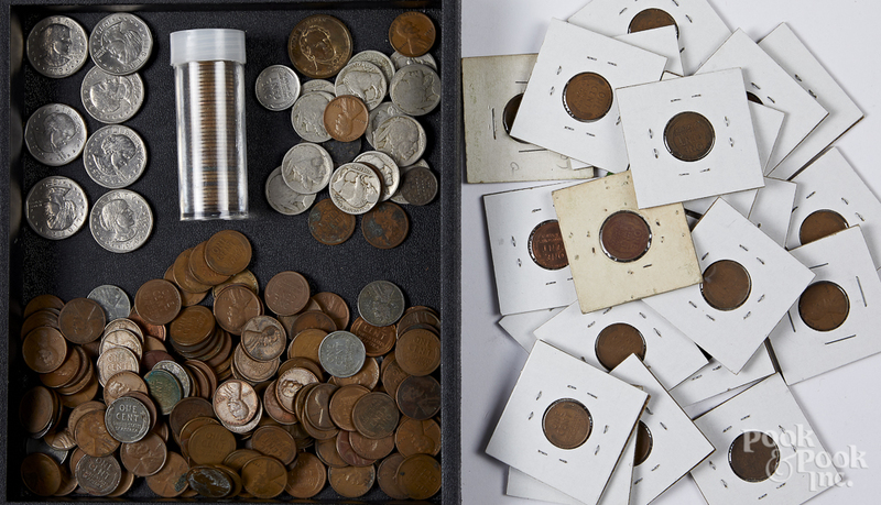 Collection of coins, mostly US.
