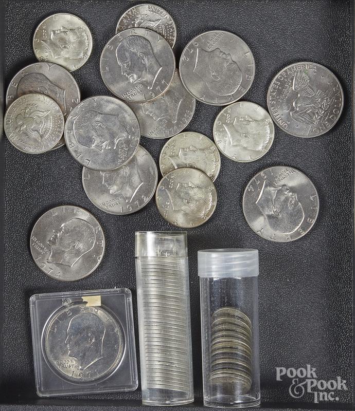Eleven Eisenhower silver dollars, etc.