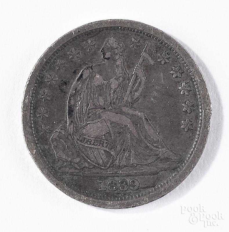 1839 seated Liberty dime.