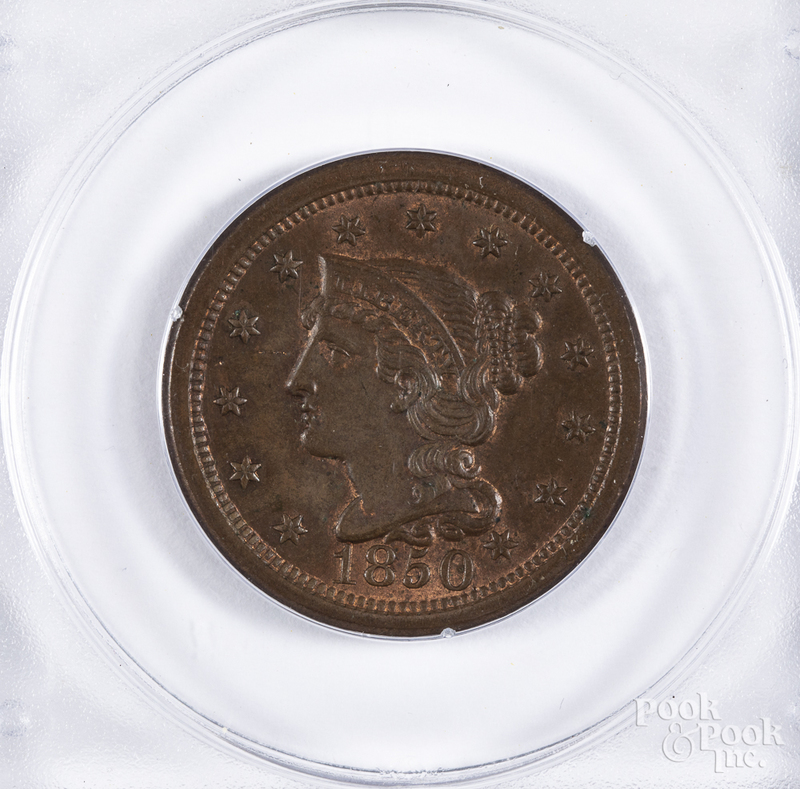 1850 one cent Busted Liberty NCGS MS 64RB.