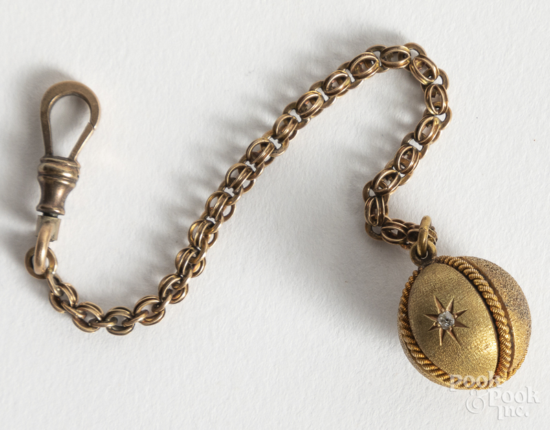 14K gold chain with ball pendant, 5.8dwt