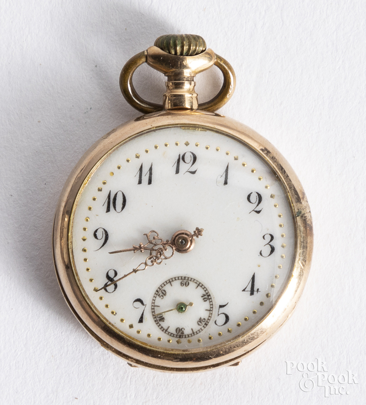 14K gold ladies pocket watch.