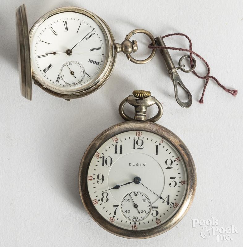 Elgin sterling silver pocket watch, etc.