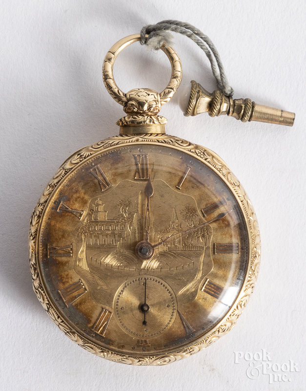 14K gold cased pocket watch.