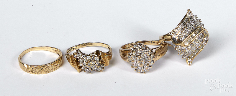 Three 10K gold diamond cluster rings, etc.