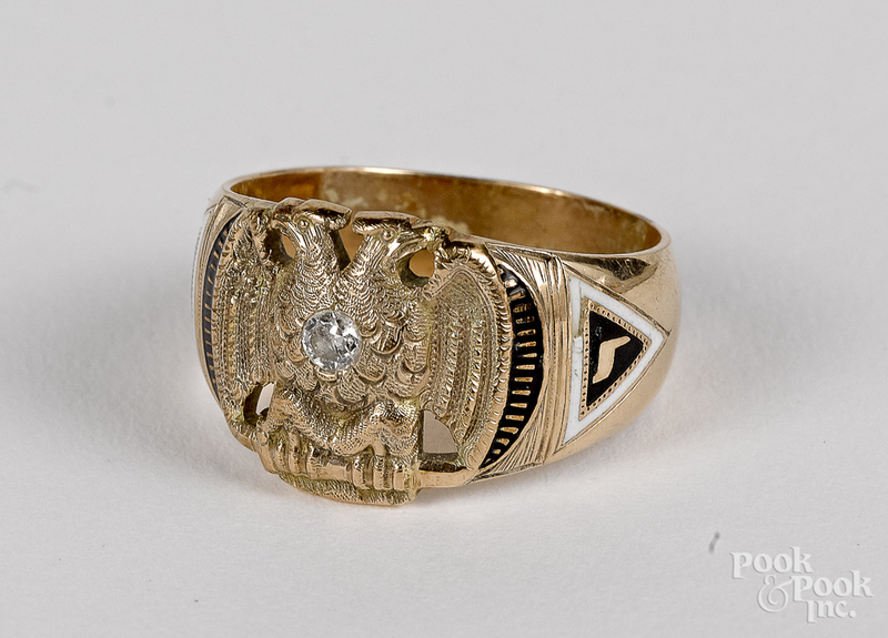 14K gold and diamond Scottish Rite eagle ring