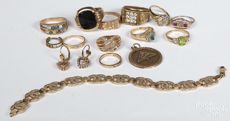 10K gold precious and semi precious jewelry, etc.