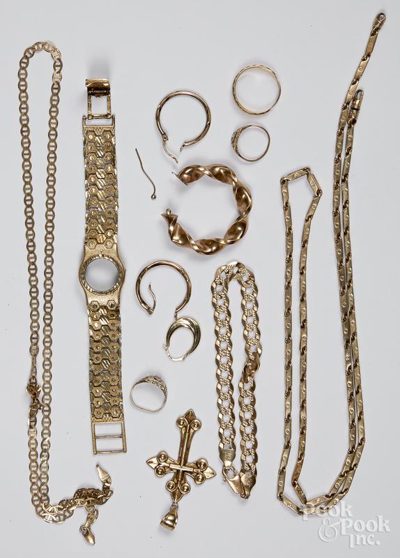 10K gold jewelry, 47.6 dwt.